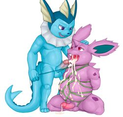 2boys anthro anthrofied arms_behind_back arms_tied big_ears blue_fur bondage buckteeth canine chubby cum cum_in_mouth cum_inside eeveelution gay humanoid_penis interspecies male male_only musclegut nidoran nintendo oral penis pokémon_(species) pokemon pokemon_rgby purple_eyes purple_skin red_eyes rodent rope scalie seyrmo size_difference tail testicles thick_thighs vaporeon video_games wet wide_hips yaoi