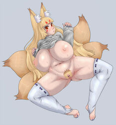5_fingers animal_humanoid areola big_breasts blonde_hair blush bottomless breasts canid canid_humanoid canine canine_humanoid censor_bar censored clothed clothing dipstick_tail female fox_humanoid hair huge_breasts humanoid inner_ear_fluff legwear long_hair mammal multi_tail multicolored_tail navel nipples pokohyo pubes pussy raised_clothing red_eyes slightly_chubby solo spread_legs spreading sweater thigh_highs