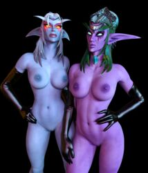 2girls 3d areolae big_breasts blue_skin breasts circlet disembowell_(artist) elf female female_only glowing_eyes green_hair green_sclera hand_on_hip hand_on_waist hourglass_figure latex latex_gloves lipstick long_gloves looking_at_viewer navel night_elf nipples nude purple_skin pussy queen_azshara royalty shaved_pussy toned tyrande_whisperwind white_hair world_of_warcraft yellow_eyes