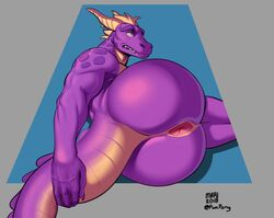 5_fingers aged_up anthro anus ass big_butt blush dragon edit horn male muscular muscular_male omari pink_anus pinup pose presenting presenting_anus presenting_hindquarters purple_eyes purple_scales reptile scales scalie shy sideways simple_background solo spyro spyro_the_dragon video_games yellow_scales