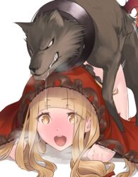 :d all_fours bangs blonde_hair blunt_bangs blush commentary_request eyebrows_visible_through_hair female heavy_breathing highres hikichi_sakuya hood little_red_riding_hood_(sinoalice) long_hair open_mouth red_hood saliva sex simple_background sinoalice smile solo sparkling_eyes teeth white_background wolf yellow_eyes zoophilia