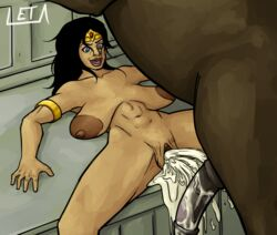areola areolae black_hair blue_eyes breasts cum cum_drip cum_explosion cum_in_pussy cum_inside dc female gaping_pussy horse huge_breasts large_breasts large_insertion leta male penis pussy sagging_breasts stretch_marks wonder_woman zoophilia