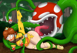 34qucker angry ass ass_lick bondage bound bound_breasts frustrated gagged mud multiple_heads nipple_suck piranha_plant princess_daisy ripped_clothing tentacle tongue