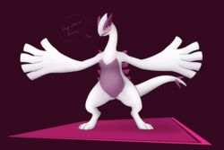 1girls 2019 3_toes absurd_res alternate_color avian belly big_belly black_eyes chubby drake_drachenlicht feet female female_only feral flat_chest hi_res legendary_pokémon looking_at_viewer lugia nintendo nude pokémon_(species) pokemon pokemon_gsc purple_background purple_skin pussy shiny_pokemon simple_background smile solo spread_arms spread_legs standing tail text thick_thighs video_games white_skin wide_hips wings
