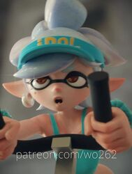 3d animated anus ass dildo earrings female inkling marie_(splatoon) nintendo no_panties no_sound pointy_ears pussy sex_toy socks solo splatoon vaginal_insertion webm white_hair wo262