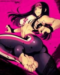 1girls abs alternate_costume ass bare_shoulders belly black_hair clenched_teeth curvy erect_nipples feet female female_focus female_only fighting_stance fingerless_gloves fingernails fishine human juri_han leggings legs_up long_hair looking_at_viewer looking_back magenta_eyes magenta_hair medium_breasts nail_polish navel nipple_bulge no_shoes pink_hair sideboob sleeveless smile smiling solo stomach straight street_fighter street_fighter_iv street_fighter_v tight_clothing toeless_legwear toenail_polish toes two_tone_hair yoga_pants