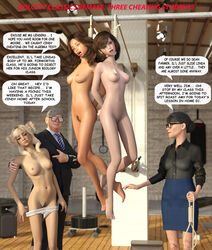 3d 3d_(artwork) arms_behind asphyxiation back barefoot blonde_hair bondage bound bound_hands breasts breath_play brown_hair choking clitoris defeat drgeppetto3d execution feet female forced hands_tied hanged helpless humiliation long_hair multiple_girls nipples nude nudity objectification open_mouth panties pants pubic_hair pussy restrained rope school schoolgirl slavegirl slaves snuff suspension tagme teacher tears text torture uncensored
