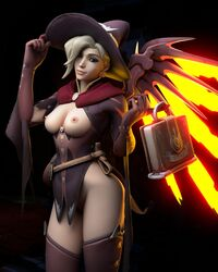 3d blonde_hair blue_eyes breasts female ghosy looking_at_viewer mercy overwatch partially_clothed solo solo_female wings witch_mercy