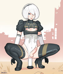 anal balls bdone blue_eyes crossdressing dildo dildo_in_ass dildo_sitting femboy girly male_only nier:_automata penis trap white_hair yorha_2b