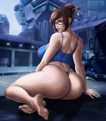1girls ass barefoot big_ass breasts cleavage feet female flowerxl looking_at_viewer looking_back mei_(overwatch) overwatch solo toes