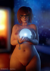 1girls 3d areolae breasts female female_only glasses looking_at_viewer mei_(overwatch) nipples nude overwatch pussy solo vgerotica