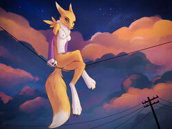 2019 absurd_res anthro ass barefoot black_sclera blue_eyes breasts canid canine clothing cloud digimon digimon_(species) female fox foxyghost fur hi_res looking_down mammal nipples nude paws pose pussy renamon solo sunset toes white_fur yellow_fur