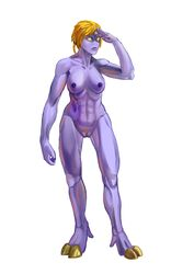 alien breasts female hair hi_res hooves humanoid muscular nipples not_furry nude polarfox_(artist) pubes purple_skin pussy salute short_hair simple_background solo standing tau warhammer_(franchise) white_background