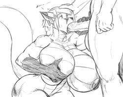 balls big_balls big_breasts big_penis breast_grab breasts canid canine canis cum dragon hand_on_breast jen_(jindragowolf) jin_(jindragowolf) jindragowolf lizard mammal muscular oral penis reptile scalie wide_hips wolf