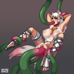 animal_ears animal_humanoid areolae big_breasts breasts clothing fox_ears fox_girl fox_tail kemonomimi nipples oral penetration ratedehcs see-through sex tail tentacle tentacle_sex triple_penetration triple_vaginal vaginal_penetration watermark white_hair