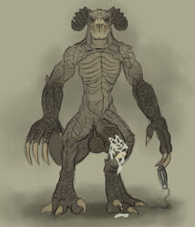 2019 absurd_res anthro balls claws collar cum deathclaw erection fallout hi_res horn humanoid_penis looking_at_viewer male mammal monster nude penis scalie simple_background solo video_games xdarkspace