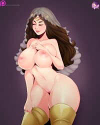areolae big_breasts boots breast_press breasts brown_hair closed_eyes color dark_souls eyes_closed female headdress highres law-zilla light_skin navel nipples nude pussy queen_of_sunlight_gwynevere solo thick_thighs thighhighs