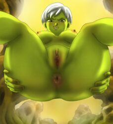 1girls alien anus areolae ass breasts cheelai dragon_ball dragon_ball_super dragon_ball_super_broly female female_only huge_ass implied_cunnilingus looking_at_viewer nipples nude phobosmarsone pussy solo thick_thighs wide_hips