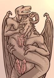 2019 anal anal_fingering animal_genitalia anthro anus ass blush carrying digital_media_(artwork) dragon erection fingering forked_tongue genital_slit holding_tail horn licking liczka long_tongue male male/male moan monochrome multi_penis naga open_mouth oral penis penis_lick precum precum_on_tongue python reptile scalie sex shaking simple_background slit snake stand_and_carry_position standing sucking sweat tongue tongue_out tonguejob wings