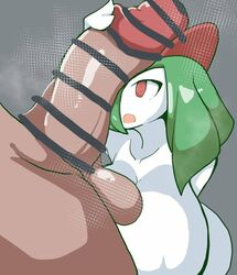 1boy 1girls anthro anthrofied ass breasts censored cock_worship dark-skinned_male dark_skin facejob female green_hair grey_background hair_over_one_eye hand_on_penis heavy_breathing holding_penis huge_breasts huge_cock huge_testicles human hyper hyper_breasts hyper_penis hypnotic_eyes interspecies kirlia larger_male long_hair long_penis male male_human/female_humanoid male_human/female_pokemon nintendo open_mouth penis penis_awe penis_on_face petronoise pokemon pokemon_rse red_eyes scared size_difference smaller_female source_request straight testicles thick_penis tongue white_skin