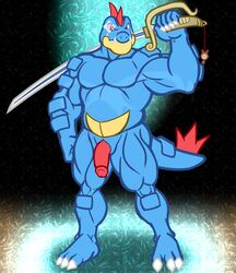 1boy 2019 absurd_res animal_genitalia anso/rez anthro anthrofied barefoot biceps blue_scales charm claws crocodilian digital_media_(artwork) feraligatr flaccid genital_slit glint hi_res holding_object holding_weapon humanoid_penis lazor_gator lazorgatr looking_at_viewer male male_only musclegut muscular muscular_male nintendo no_nipples nude original_character pecs penis pokémon_(species) pokemon pokemon_gsc raised_arm red_eyes reptile scales scalie slit solo standing teeth thick_thighs twitch_plays_pokémon video_games weapon yellow_scales