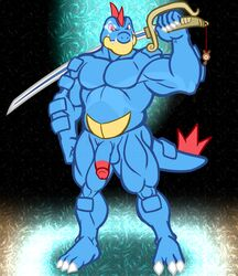 1boy 2019 absurd_res anso/rez anthro anthrofied barefoot biceps blue_scales charm chubby circumcised claws crocodilian digital_media_(artwork) feraligatr flaccid glint hi_res holding_object holding_weapon humanoid_penis lazor_gator lazorgatr looking_at_viewer male male_only musclegut muscular muscular_male nintendo no_nipples nude original_character pecs penis pokémon_(species) pokemon pokemon_gsc raised_arm red_eyes reptile scales scalie solo standing teeth testicles thick_thighs twitch_plays_pokémon video_games weapon yellow_scales
