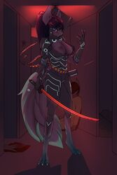 2019 absurd_res anthro blood breasts chapaevv clothed clothing digital_media_(artwork) equid equine fan_character female fur hair hi_res holding_object holding_weapon horse katana looking_at_viewer mammal melee_weapon my_little_pony nipples pony pussy solo standing sword teeth weapon