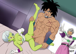 1girl 2boys battle_armor bottomless breasts broly cheelai dragon_ball dragon_ball_super dragon_ball_super_broly father_and_son female interspecies male multiple_boys nipples padm paragus penis pussy scouter sex