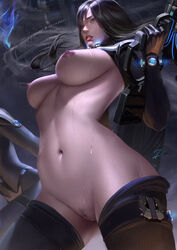 2017 belly black_hair boots breasts breasts_out_of_clothes clothing color digital_media_(artwork) eyelashes eyes female female_only functionally_nude gantz gantz_suit gauntlets gloves gun high_resolution highres hips holding_gun holding_weapon large_breasts legs legwear lips long_hair navel nipples nude parted_lips pubic_hair pussy shimohira_reika shoes solo sweat teeth thigh_boots thighhighs thighs uncensored vagina weapon wet zumi