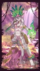 2019 4_toes 5_fingers anthro barefoot blue_eyes breasts charr digital_media_(artwork) digitigrade felid female guild_wars hair hi_res holding_object holding_weapon kittythesilence leopard mammal navel nipples pantherine pussy solo standing toes video_games weapon white_hair