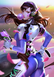 2017 absurd_res acronym animal_print bangs blizzard_entertainment blue_bodysuit bodysuit breasts brown_eyes brown_hair bubble_blowing bunny_print charm_(object) chewing_gum color d.va facepaint facial_mark female from_behind gloves gun handgun headphones high_collar high_resolution highres holding holding_gun holding_weapon lips long_hair looking_at_viewer looking_back mecha meka overwatch petals pilot_suit pink_lips pistol ribbed_bodysuit shoulder_pads skin_tight solo swept_bangs text_on_clothes trigger_discipline weapon whisker_markings white_gloves zumi