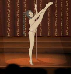 anaxus anus avatar_the_last_airbender back_view barefoot brown_hair crowd female flexible hand_on_leg legs_up long_hair looking_at_viewer naked ponytail pussy smiling solo standing strip_club stripper_pole tagme ty_lee