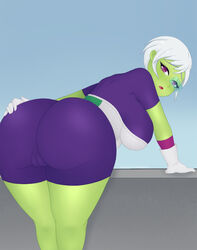 1girls alien armor ass bent_over big_ass bodysuit breasts cameltoe cheelai cleavage clothed curvy dat_ass dragon_ball dragon_ball_super_broly eye_contact eyelashes female female_only gloves green_skin hand_on_ass hentaikitties huge_ass huge_breasts large_ass looking_at_viewer looking_back open_mouth pink_eyes pussy scouter short_hair skin_tight solo source_request tongue voluptuous white_hair wide_hips