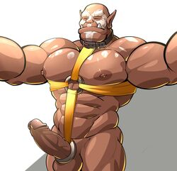 abs balls cock_ring collar erection harness hi_res humanoid humanoid_penis maldu male male_only muscular muscular_male nipples not_furry nude orc pecs penis simple_background solo