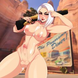 after_sex ashe_(overwatch) blizzard_entertainment breasts cum cum_inside cum_on_breasts dickgirl erection facial futanari highres intersex large_breasts large_penis law-zilla nipples nude overwatch penis rifle short_hair solo standing testicles weapon white_hair