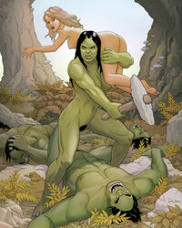 2girls 3boys balziku black_hair blonde_hair blue_eyes breasts female green_skin holding_head holding_weapon knocked_out male muscular_female nipples no_clothing nude orc orc_female outdoors outside pubic_hair trees unconscious