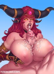 1boy 1girls alexstrasza areolae big_penis breasts cum cum_on_breasts cum_on_penis cum_on_tongue cum_volcano erection female fizzz heart-shaped_pupils huge_breasts male nipples open_mouth paizuri penis straight tongue tongue_out world_of_warcraft