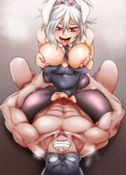 1boy abs animal_ears bare_shoulders breasts breasts_outside bunny_ears bunnysuit clenched_teeth clothed_sex covered_navel cowgirl_position detached_collar eyebrows female grabbing grabbing_own_breast highres kimmundo large_breasts league_of_legends leotard leotard_aside looking_down muscle necktie nipple_play nipples nose open_mouth pantyhose penis pussy pussy_juice red_eyes riven_(league_of_legends) sex straddling sweat teeth tongue tongue_out torn_clothes torn_pantyhose waist_grab white_hair