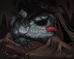 1boy 2016 5_fingers abs absurd_res anthro balls beard bed bed_sheet bedding biceps biped black_horn bleats charr claws crowley_graveseer digital_media_(artwork) empty_eyes facial_hair facial_piercing felid foreskin fur glans grey_balls grey_fur grey_hair guild_wars hair half-erect hi_res horn humanoid_penis looking_at_viewer lying male male_only mammal muscular muscular_male nipples nose_piercing nose_ring nude on_back on_bed pecs penis piercing pillow pink_penis pinup pose retracted_foreskin septum_piercing signature snout solo solo_male the_pain_is_too_great tusks uncut vein veiny_penis video_games