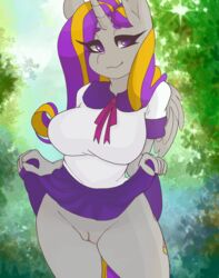 2019 alicorn animated anthro clothing_lift cutie_mark dialogue english_text equid fan_character female hair hi_res horn long_hair looking_at_viewer mammal multicolored_hair my_little_pony pussy solo text thick_thighs tolsticot two_tone_hair wide_hips wings