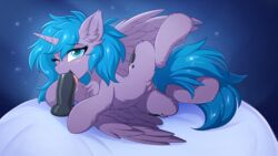 alicorn digital_media_(artwork) dildo equid feathered_wings feathers female feral friendship_is_magic fur hioshiru horn mammal my_little_pony oral princess_luna_(mlp) pussy pussy_juice sex_toy solo tongue wings