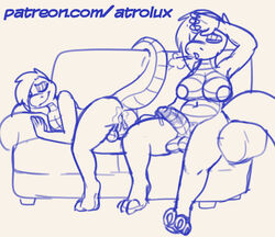 2019 after_sex amon_(atrolux) anthro anus areola ass atrolux backsack balls belly big_breasts breasts breath claws closed_eyes cum cum_drip cum_in_ass cum_inside cum_leaking dickgirl dickgirl/male dripping erection eyelashes hair humanoid_penis incest intersex intersex/male kyra_(atrolux) larger_dickgirl larger_intersex looking_pleasured lying male mother mother_and_son navel non-mammal_breasts on_side parent patreon penis pit_viper raised_tail rattlesnake reptile scalie sitting size_difference sketch slightly_chubby smaller_male smile snake sofa son thick_thighs toe_claws url viper