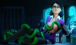 3d_(artwork) absurd_res ambiguous_gender areola breasts clipboard clothed clothing digital_media_(artwork) duo eyewear female female/ambiguous fishnet footwear glasses green_eyes hair hi_res holding_object human legwear lips mammal miss_pauling miss_pauling_(team_fortress_2) monster nipples not_furry open_shirt owo_sfm shirt shoes shorts sitting solo_focus team_fortress_2 tentacle thigh_highs valve video_games