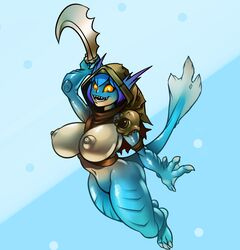 1girls 3_toes 4_fingers anthro areolae ass blue_hair blue_skin breasts breasts_out claws curvy dota dota_2 female female_only fish front_view genderswap_(mtf) holding_weapon hood huge_breasts jumping knife lewdreaper marine melee_weapon monster monster_girl navel nipples open_smile perky_breasts puffy_nipples rule_63 sharp_teeth shoulder_pads slark_the_nightcrawler smile solo tail toe_claws weapon yellow_sclera
