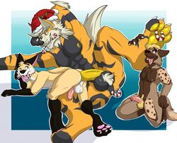 2018 3boys abs alternate_color anal anal_sex anthro anthrofied arcanine ass canine digital_media_(artwork) draxler erection feet fox fur furry gay huge_penis humanoid_penis interspecies larger_male male male_only mammal muscular muscular_male nintendo nipple_piercing nipples nude open_mouth original_character paws penetration penis piercing pokémon_(species) pokemon pokemon_rgby pubic_hair regal-bowser sex simple_background size_difference smaller_male smile testicles tongue video_games wolf yaoi
