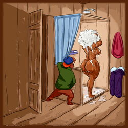 2019 age_difference anthro bathroom big_breasts breasts clothed clothing disney duo female hi_res kit_cloudkicker male mammal masturbation mature_female nude older_female rebecca_cunningham shampoo shower_room size_difference talespin teenager ursid voyeur vylfgor young younger_male
