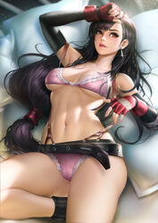 absurdres bra breasts female female_only final_fantasy final_fantasy_vii gloves highres large_breasts lingerie neoartcore panties solo tifa_lockhart