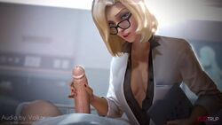 3d animated blonde_hair cleavage edit erection female fugtrup glasses handjob looking_at_viewer male mercy nail_polish overwatch penis pov sound sound_edit source_filmmaker straight volkor webm