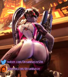 3d ass blizzard_entertainment bodysuit dreamhayzesfm exposed_pussy gun high_heels high_resolution huge_ass large_filesize latex looking_at_viewer looking_back looking_down overwatch painting_(object) patreon ponytail purple_skin pussy rifle shoes source_filmmaker squatting thick_lips tied_hair torn_clothes vase weapon widowmaker