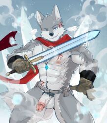 2019 5_fingers abs anthro biceps black_nose canid canine canis chang52084 clothed clothing digital_media_(artwork) fur gloves hi_res humanoid_penis male mammal melee_weapon muscular muscular_male nipples pecs penis scarf sword tattoo weapon wolf